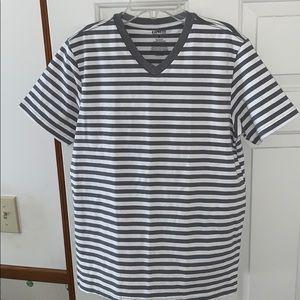 White & Gray Striped Express V-Neck